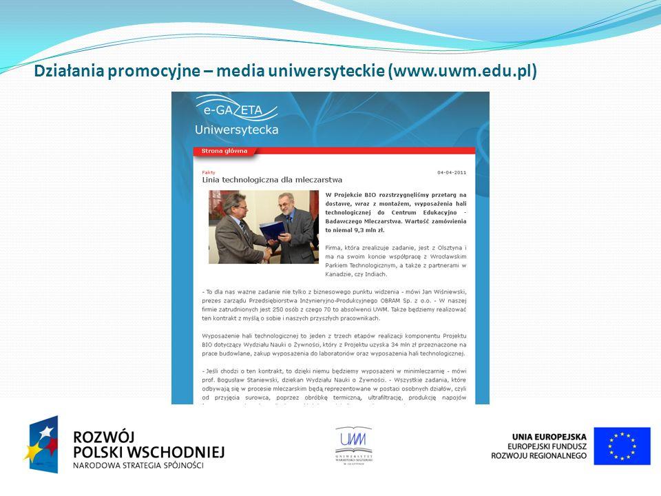 Działania promocyjne – media uniwersyteckie (www.uwm.edu.pl)
