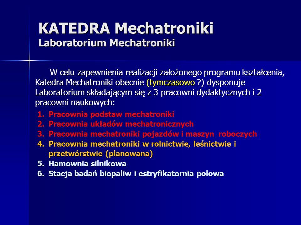 KATEDRA Mechatroniki Laboratorium Mechatroniki W celu zapewnienia realizacji założonego programu kształcenia, Katedra Mechatroniki obecnie (tymczasowo ?) dysponuje Laboratorium składającym się z 3 pracowni dydaktycznych i 2 pracowni naukowych: 1.Pracownia podstaw mechatroniki 2.Pracownia układów mechatronicznych 3.Pracownia mechatroniki pojazdów i maszyn roboczych 4.Pracownia mechatroniki w rolnictwie, leśnictwie i przetwórstwie (planowana) 5.Hamownia silnikowa 6.Stacja badań biopaliw i estryfikatornia polowa