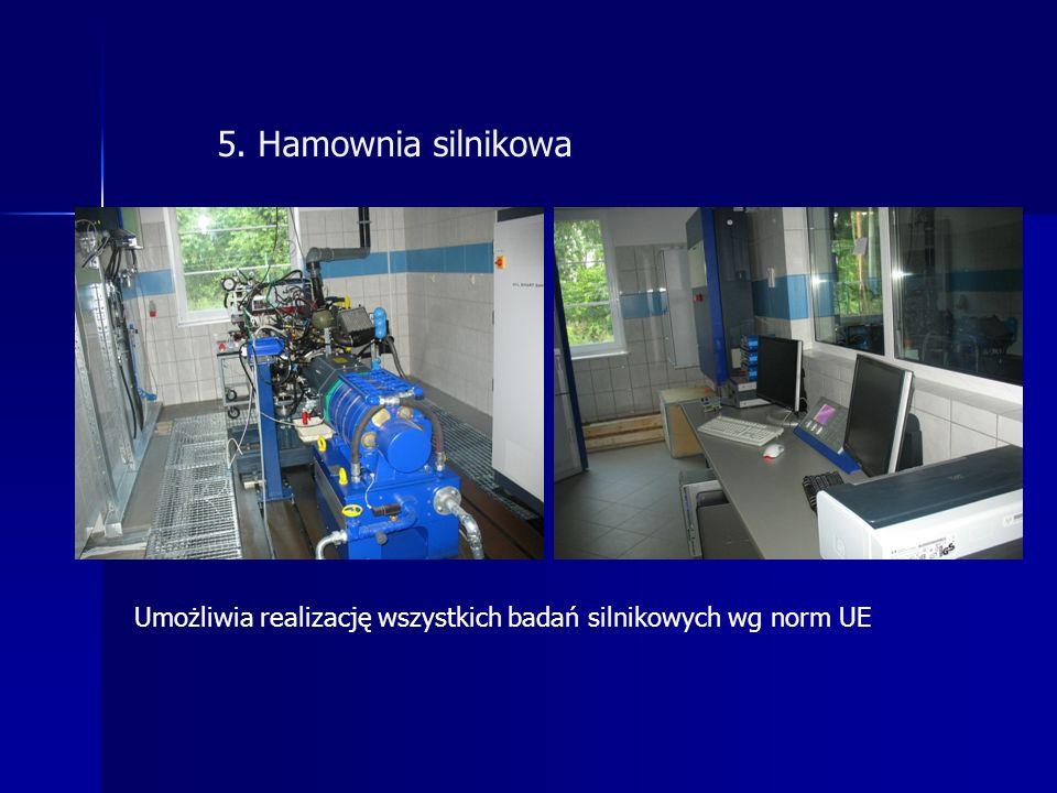 5. Hamownia silnikowa Umożliwia realizację wszystkich badań silnikowych wg norm UE