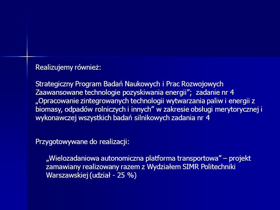 Realizujemy również: Strategiczny Program Badań Naukowych i Prac Rozwojowych Zaawansowane technologie pozyskiwania energii; zadanie nr 4 Opracowanie zintegrowanych technologii wytwarzania paliw i energii z biomasy, odpadów rolniczych i innych w zakresie obsługi merytorycznej i wykonawczej wszystkich badań silnikowych zadania nr 4 Przygotowywane do realizacji: Wielozadaniowa autonomiczna platforma transportowa – projekt zamawiany realizowany razem z Wydziałem SIMR Politechniki Warszawskiej (udział - 25 %)