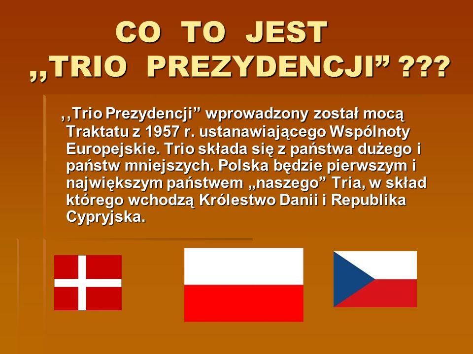 CO TO JEST,,TRIO PREZYDENCJI ??? CO TO JEST,,TRIO PREZYDENCJI ???,, Trio Prezydencji wprowadzony został mocą Traktatu z 1957 r. ustanawiającego Wspóln