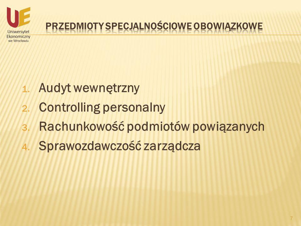 1. Audyt wewnętrzny 2. Controlling personalny 3. Rachunkowość podmiotów powiązanych 4. Sprawozdawczość zarządcza 7