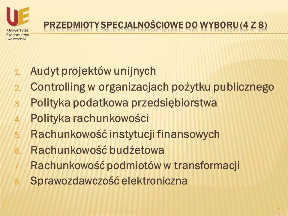 1. Audyt projektów unijnych 2. Controlling w organizacjach pożytku publicznego 3. Polityka podatkowa przedsiębiorstwa 4. Polityka rachunkowości 5. Rac