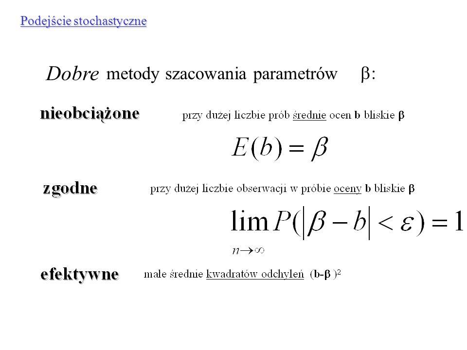Dobre estymatory Podejście stochastyczne metody szacowania parametrów