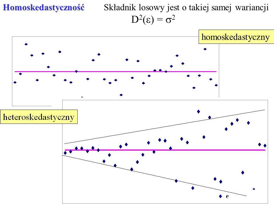 homoskedastycznyHomoskedastycznośćSkładnik losowy jest o takiej samej wariancji D 2 ( ) = 2