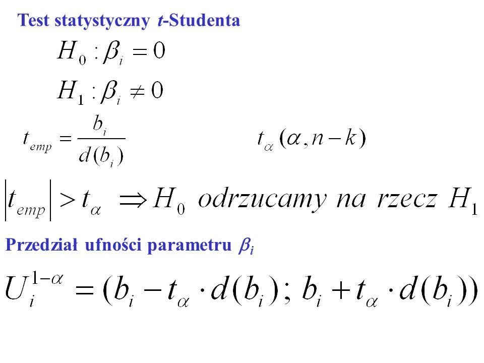 Test statystyczny t-Studenta Przedział ufności parametru i