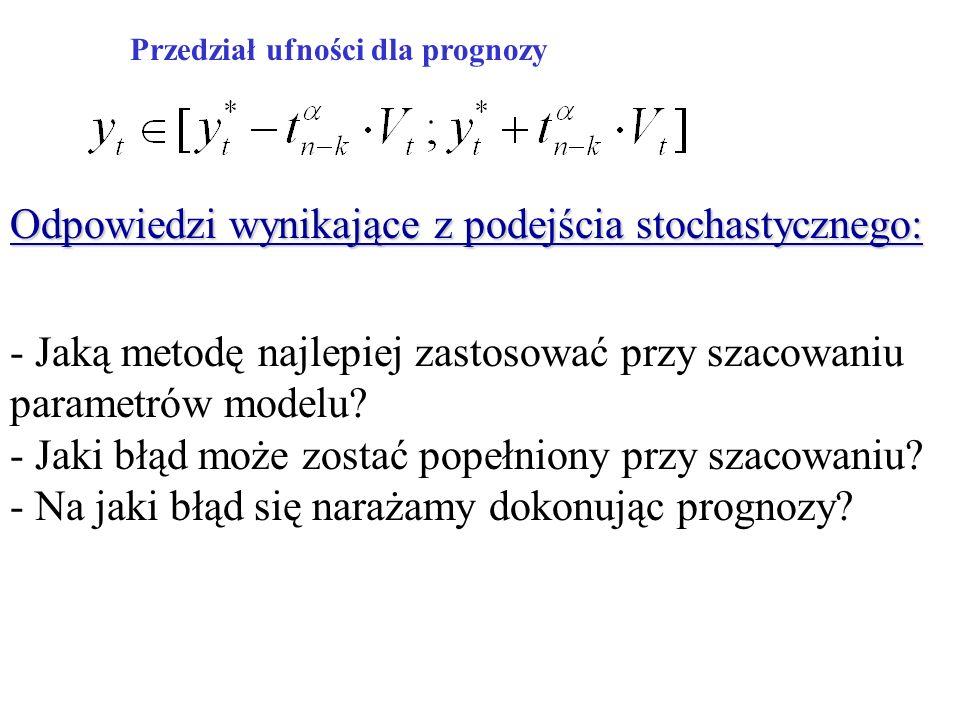 Przedział ufności dla prognozy Odpowiedzi wynikające z podejścia stochastycznego: - Jaką metodę najlepiej zastosować przy szacowaniu parametrów modelu.