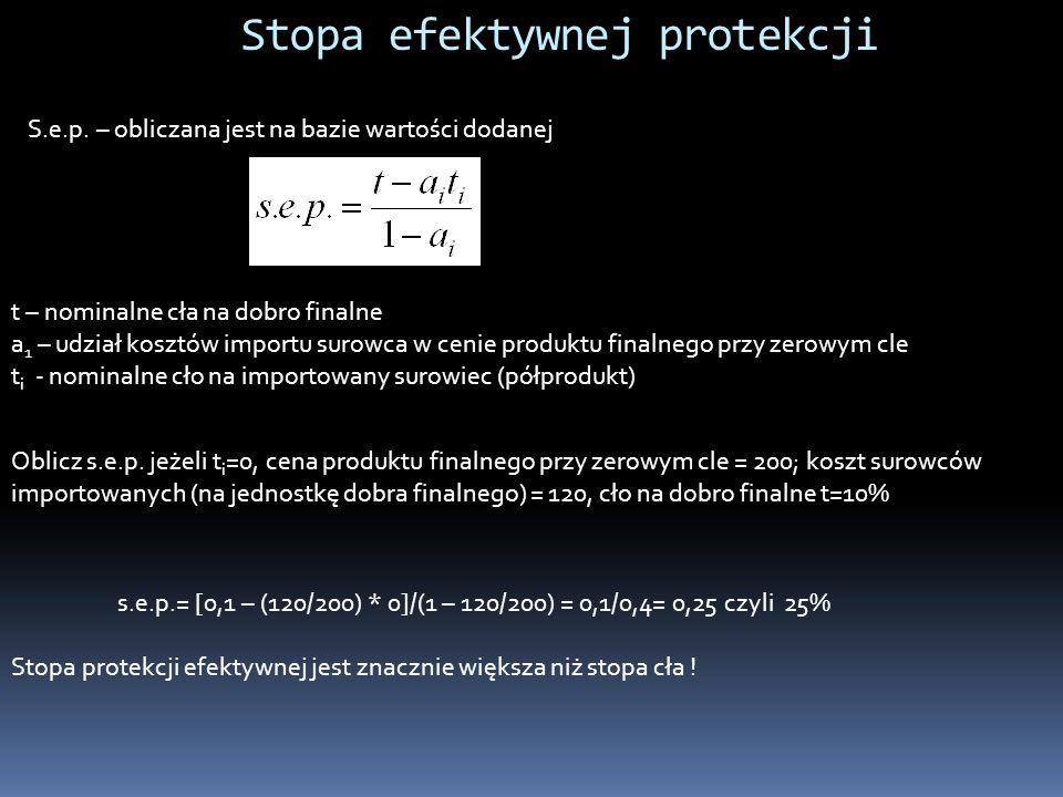 Stopa efektywnej protekcji S.e.p. – obliczana jest na bazie wartości dodanej t – nominalne cła na dobro finalne a 1 – udział kosztów importu surowca w