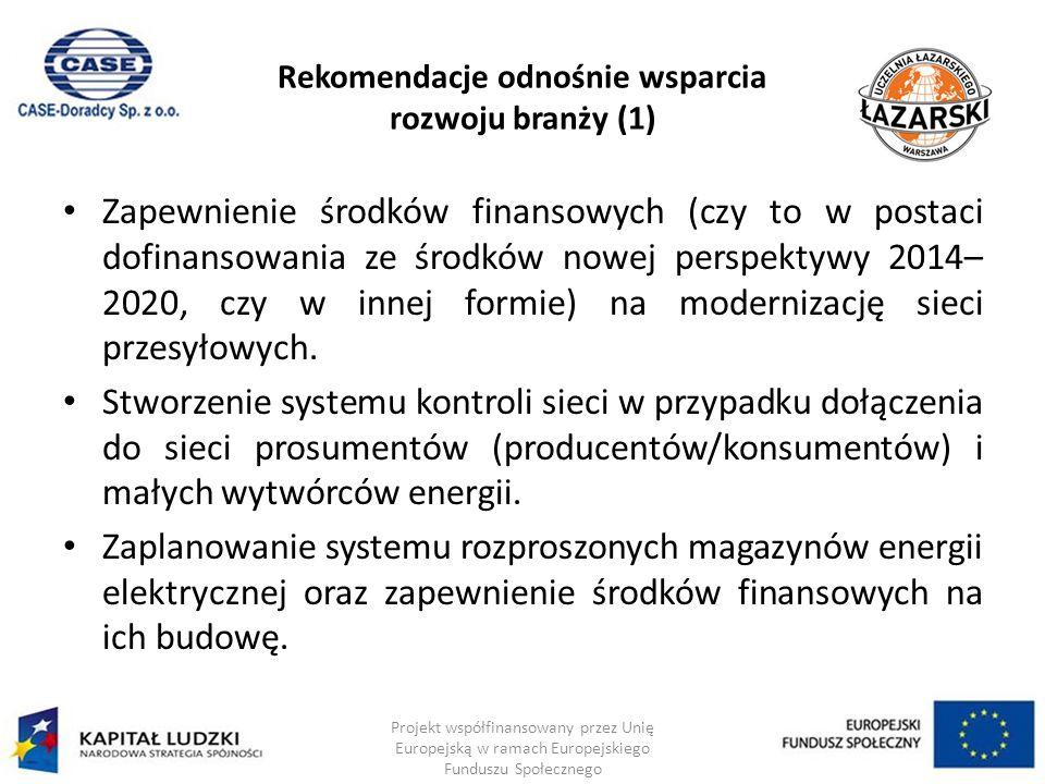 Rekomendacje odnośnie wsparcia rozwoju branży (1) Zapewnienie środków finansowych (czy to w postaci dofinansowania ze środków nowej perspektywy 2014– 2020, czy w innej formie) na modernizację sieci przesyłowych.
