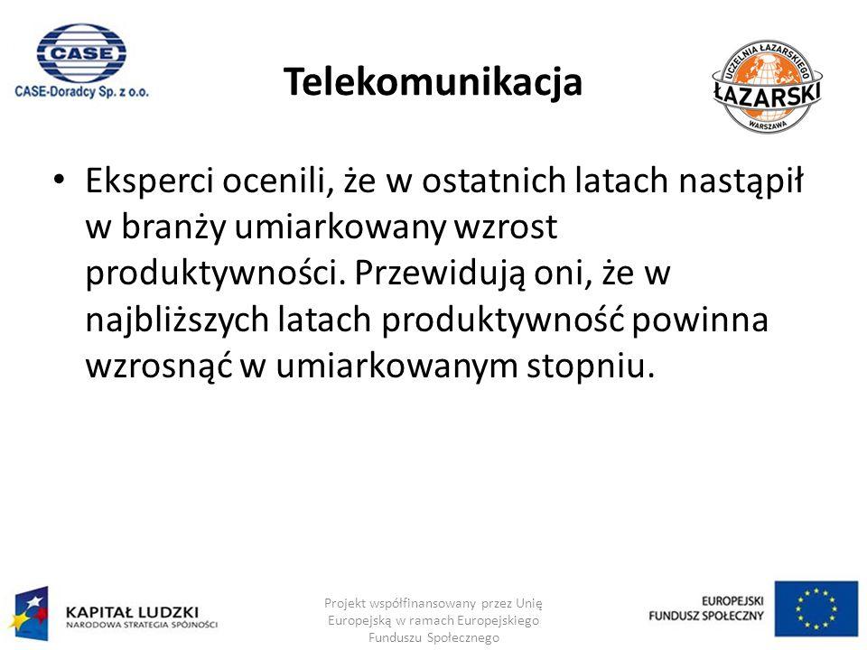 Telekomunikacja Eksperci ocenili, że w ostatnich latach nastąpił w branży umiarkowany wzrost produktywności.