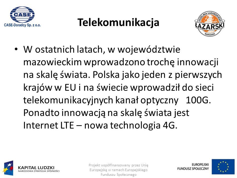Telekomunikacja W ostatnich latach, w województwie mazowieckim wprowadzono trochę innowacji na skalę świata.