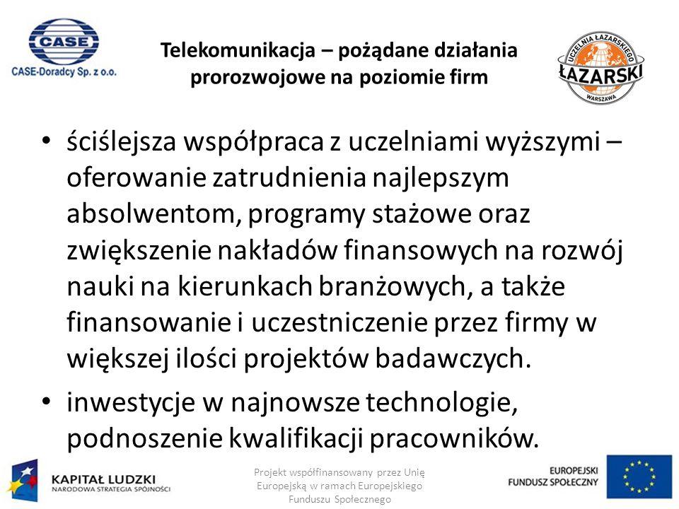 Telekomunikacja – pożądane działania prorozwojowe na poziomie firm ściślejsza współpraca z uczelniami wyższymi – oferowanie zatrudnienia najlepszym absolwentom, programy stażowe oraz zwiększenie nakładów finansowych na rozwój nauki na kierunkach branżowych, a także finansowanie i uczestniczenie przez firmy w większej ilości projektów badawczych.