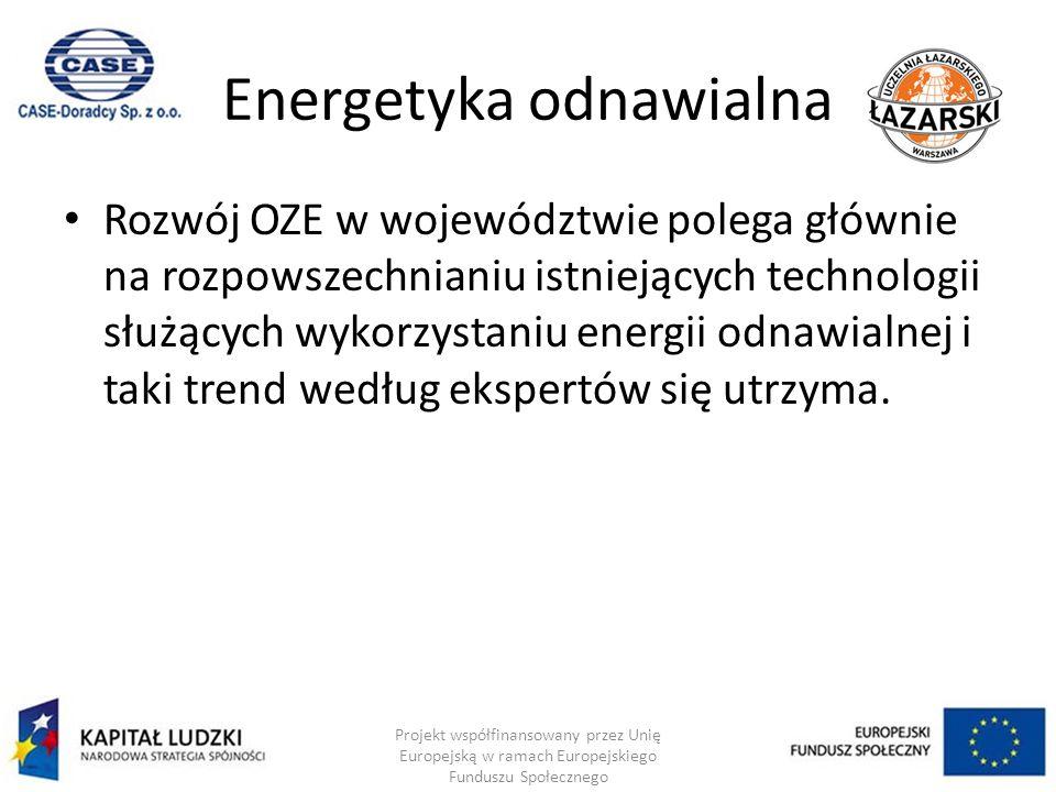 Energetyka odnawialna Rozwój OZE w województwie polega głównie na rozpowszechnianiu istniejących technologii służących wykorzystaniu energii odnawialnej i taki trend według ekspertów się utrzyma.
