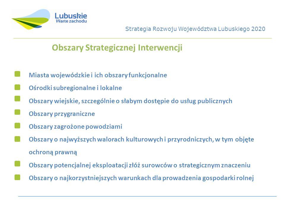 Obszary Strategicznej Interwencji Miasta wojewódzkie i ich obszary funkcjonalne Ośrodki subregionalne i lokalne Obszary wiejskie, szczególnie o słabym