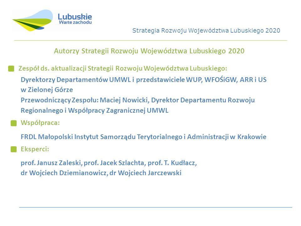 Autorzy Strategii Rozwoju Województwa Lubuskiego 2020 Zespół ds. aktualizacji Strategii Rozwoju Województwa Lubuskiego: Dyrektorzy Departamentów UMWL