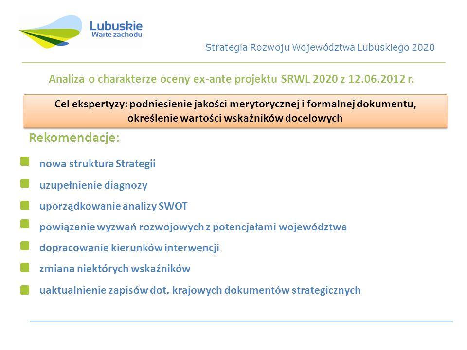 Analiza o charakterze oceny ex-ante projektu SRWL 2020 z 12.06.2012 r. Cel ekspertyzy: podniesienie jakości merytorycznej i formalnej dokumentu, okreś