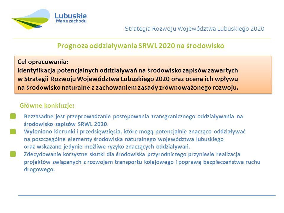 Prognoza oddziaływania SRWL 2020 na środowisko Cel opracowania: Identyfikacja potencjalnych oddziaływań na środowisko zapisów zawartych w Strategii Ro