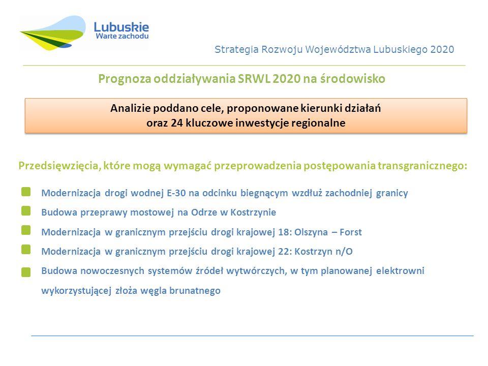 Prognoza oddziaływania SRWL 2020 na środowisko Przedsięwzięcia, które mogą wymagać przeprowadzenia postępowania transgranicznego: Modernizacja drogi w