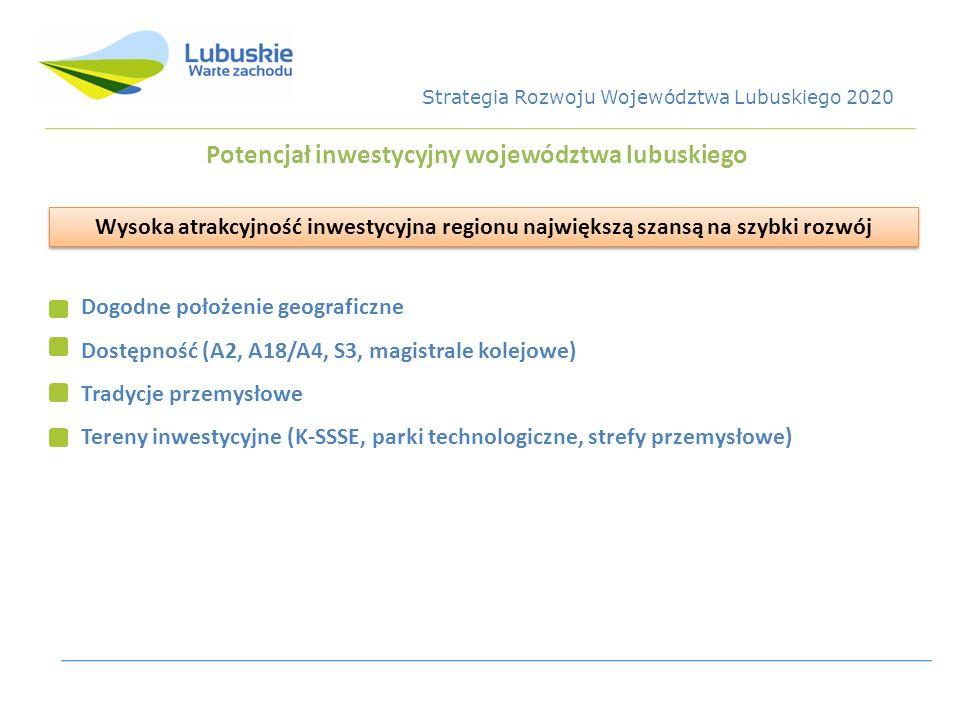 Potencjał inwestycyjny województwa lubuskiego Dogodne położenie geograficzne Dostępność (A2, A18/A4, S3, magistrale kolejowe) Tradycje przemysłowe Ter