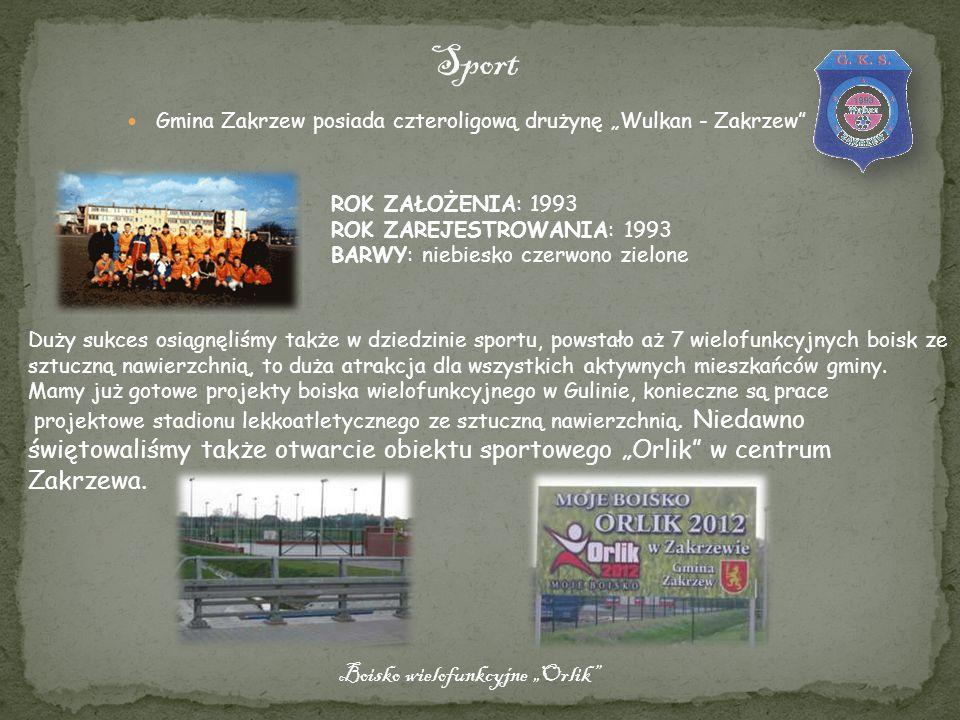 Gmina Zakrzew posiada czteroligową drużynę Wulkan - Zakrzew ROK ZAŁOŻENIA: 1993 ROK ZAREJESTROWANIA: 1993 BARWY: niebiesko czerwono zielone Duży sukce
