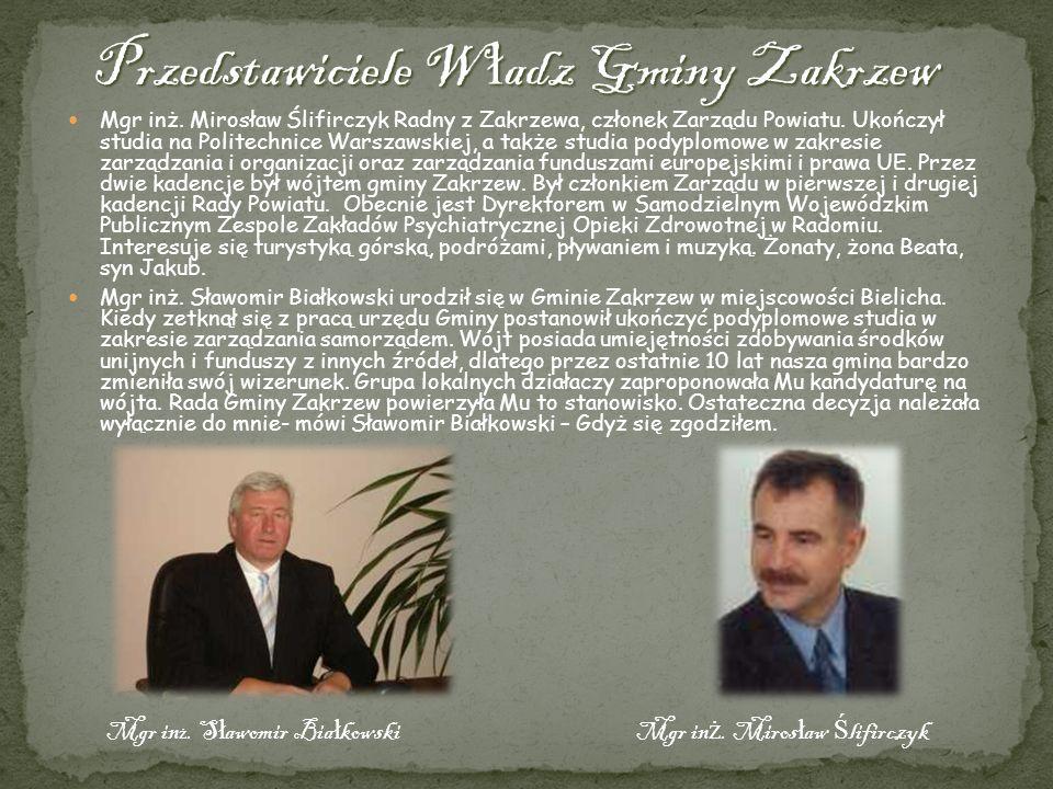 Mgr inż. Mirosław Ślifirczyk Radny z Zakrzewa, członek Zarządu Powiatu. Ukończył studia na Politechnice Warszawskiej, a także studia podyplomowe w zak