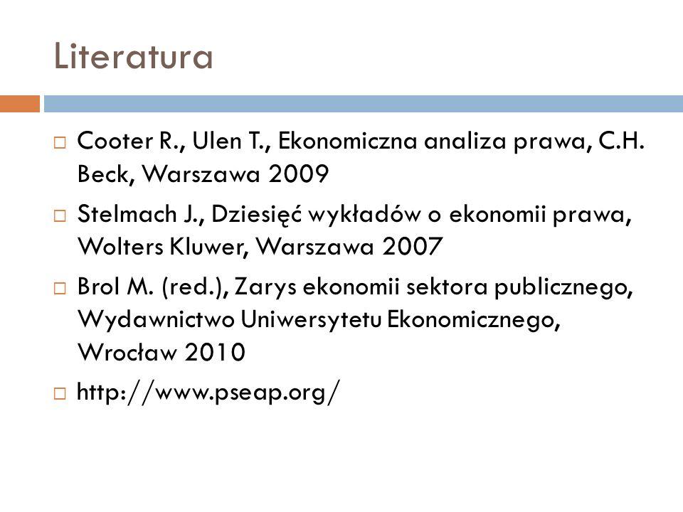 Literatura Cooter R., Ulen T., Ekonomiczna analiza prawa, C.H.