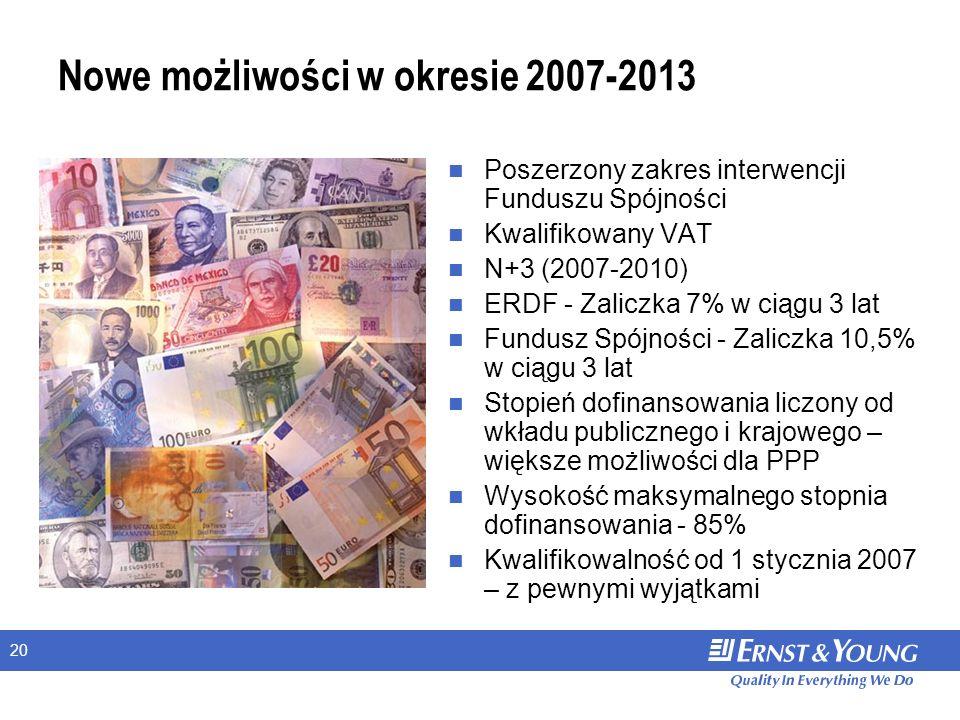 20 Nowe możliwości w okresie 2007-2013 Poszerzony zakres interwencji Funduszu Spójności Kwalifikowany VAT N+3 (2007-2010) ERDF - Zaliczka 7% w ciągu 3 lat Fundusz Spójności - Zaliczka 10,5% w ciągu 3 lat Stopień dofinansowania liczony od wkładu publicznego i krajowego – większe możliwości dla PPP Wysokość maksymalnego stopnia dofinansowania - 85% Kwalifikowalność od 1 stycznia 2007 – z pewnymi wyjątkami