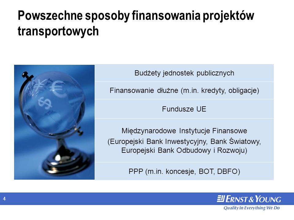 4 Powszechne sposoby finansowania projektów transportowych Budżety jednostek publicznych Finansowanie dłużne (m.in. kredyty, obligacje) Fundusze UE Mi
