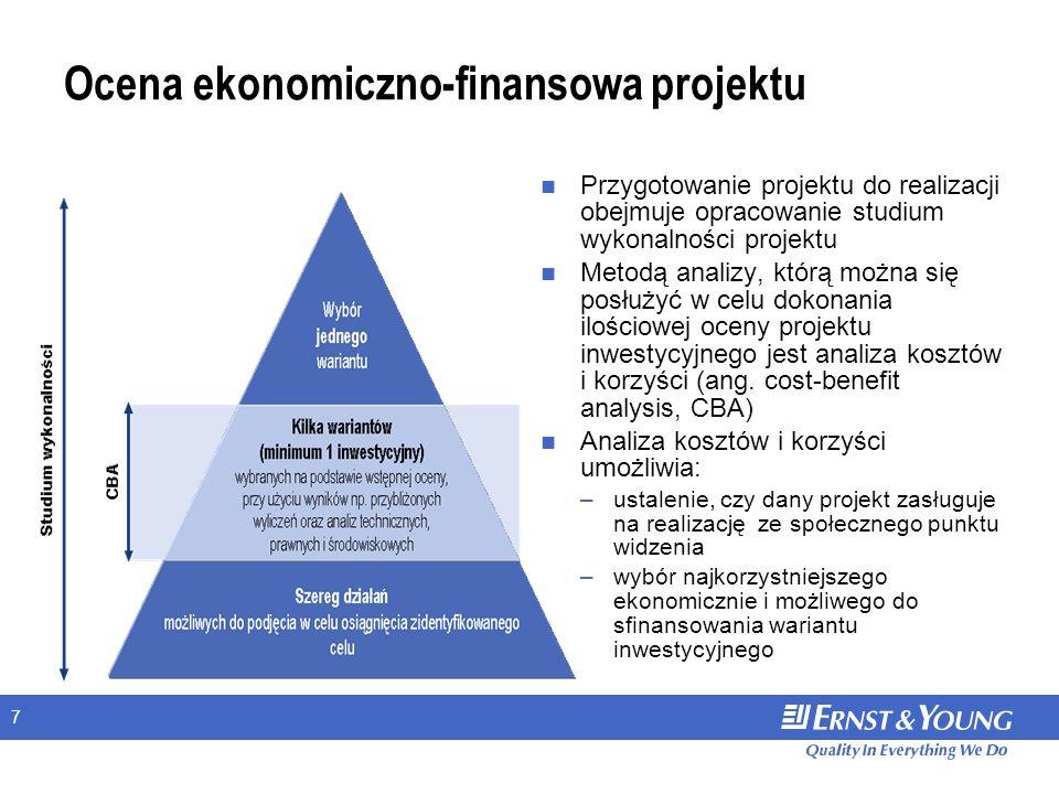 7 Ocena ekonomiczno-finansowa projektu Przygotowanie projektu do realizacji obejmuje opracowanie studium wykonalności projektu Metodą analizy, którą można się posłużyć w celu dokonania ilościowej oceny projektu inwestycyjnego jest analiza kosztów i korzyści (ang.