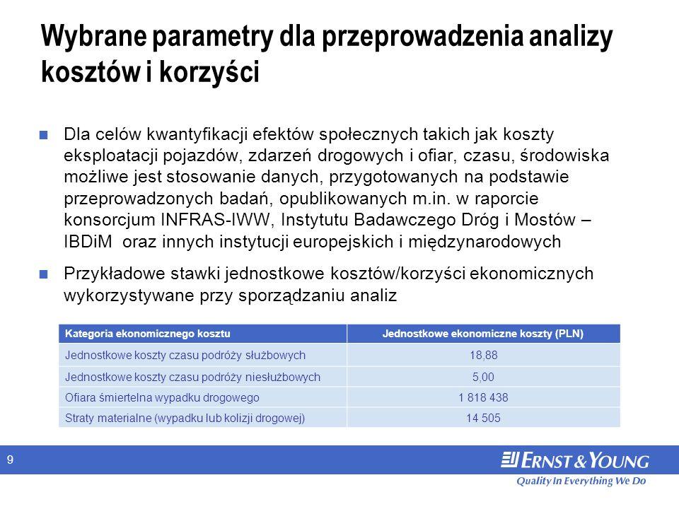 9 Wybrane parametry dla przeprowadzenia analizy kosztów i korzyści Dla celów kwantyfikacji efektów społecznych takich jak koszty eksploatacji pojazdów