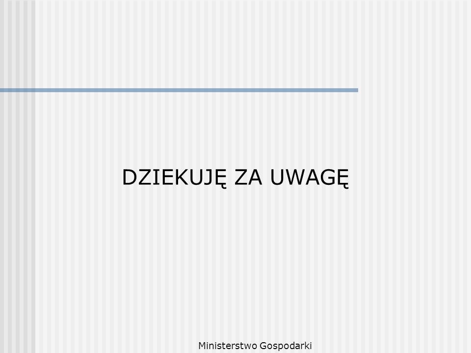 Ministerstwo Gospodarki DZIEKUJĘ ZA UWAGĘ