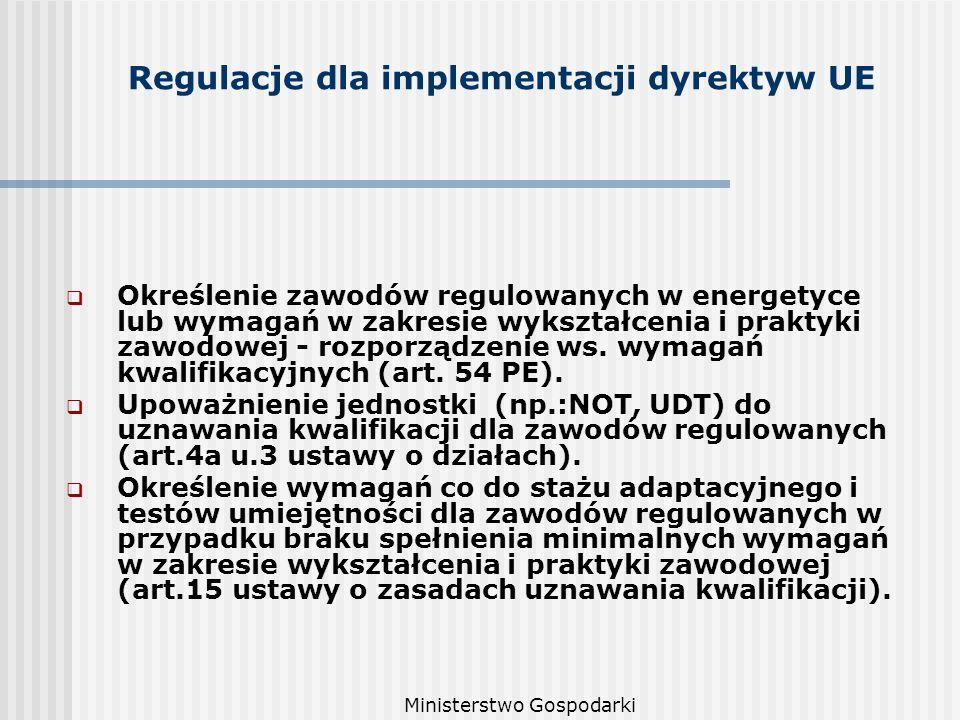 Ministerstwo Gospodarki Regulacje dla implementacji dyrektyw UE Określenie zawodów regulowanych w energetyce lub wymagań w zakresie wykształcenia i praktyki zawodowej - rozporządzenie ws.