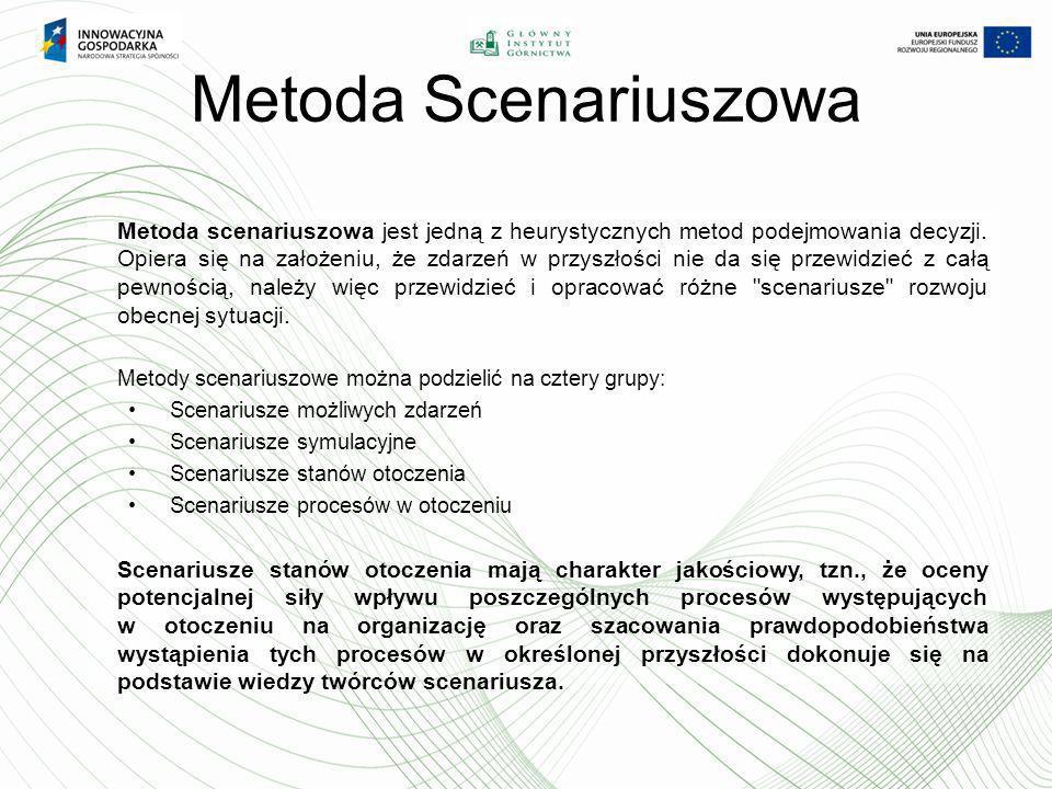 Metoda Scenariuszowa Metoda scenariuszowa jest jedną z heurystycznych metod podejmowania decyzji. Opiera się na założeniu, że zdarzeń w przyszłości ni