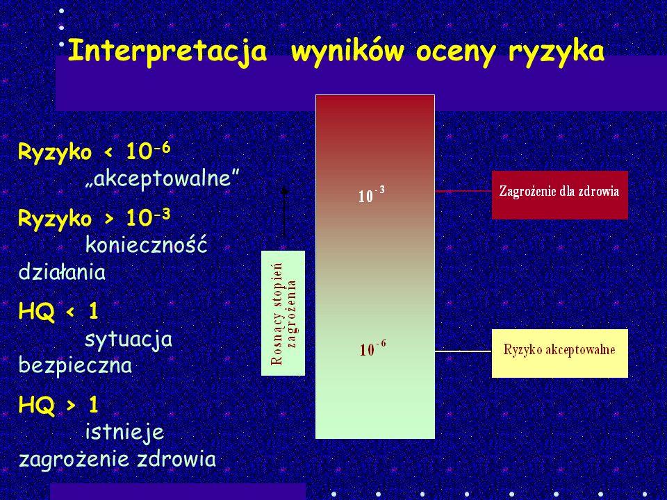 Interpretacja wyników oceny ryzyka Ryzyko < 10 -6 akceptowalne Ryzyko > 10 -3 konieczność działania HQ < 1 sytuacja bezpieczna HQ > 1 istnieje zagroże