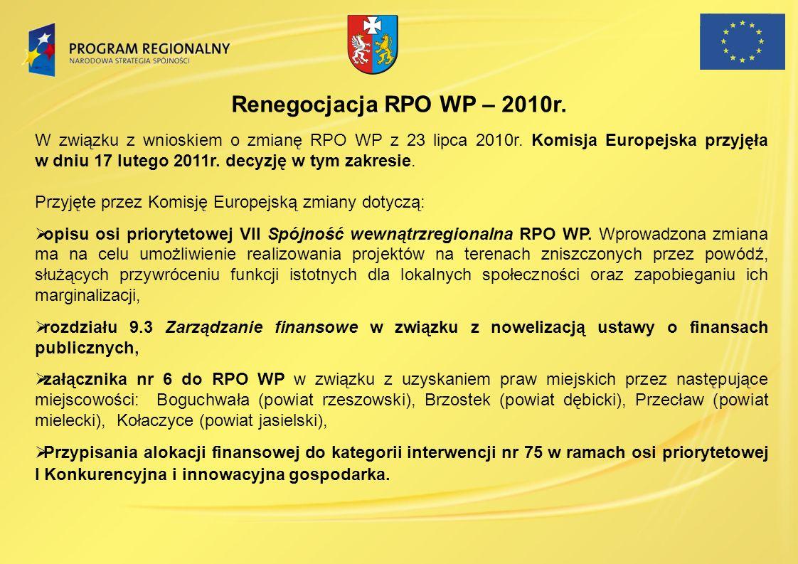 Renegocjacja RPO WP – 2010r. W związku z wnioskiem o zmianę RPO WP z 23 lipca 2010r. Komisja Europejska przyjęła w dniu 17 lutego 2011r. decyzję w tym