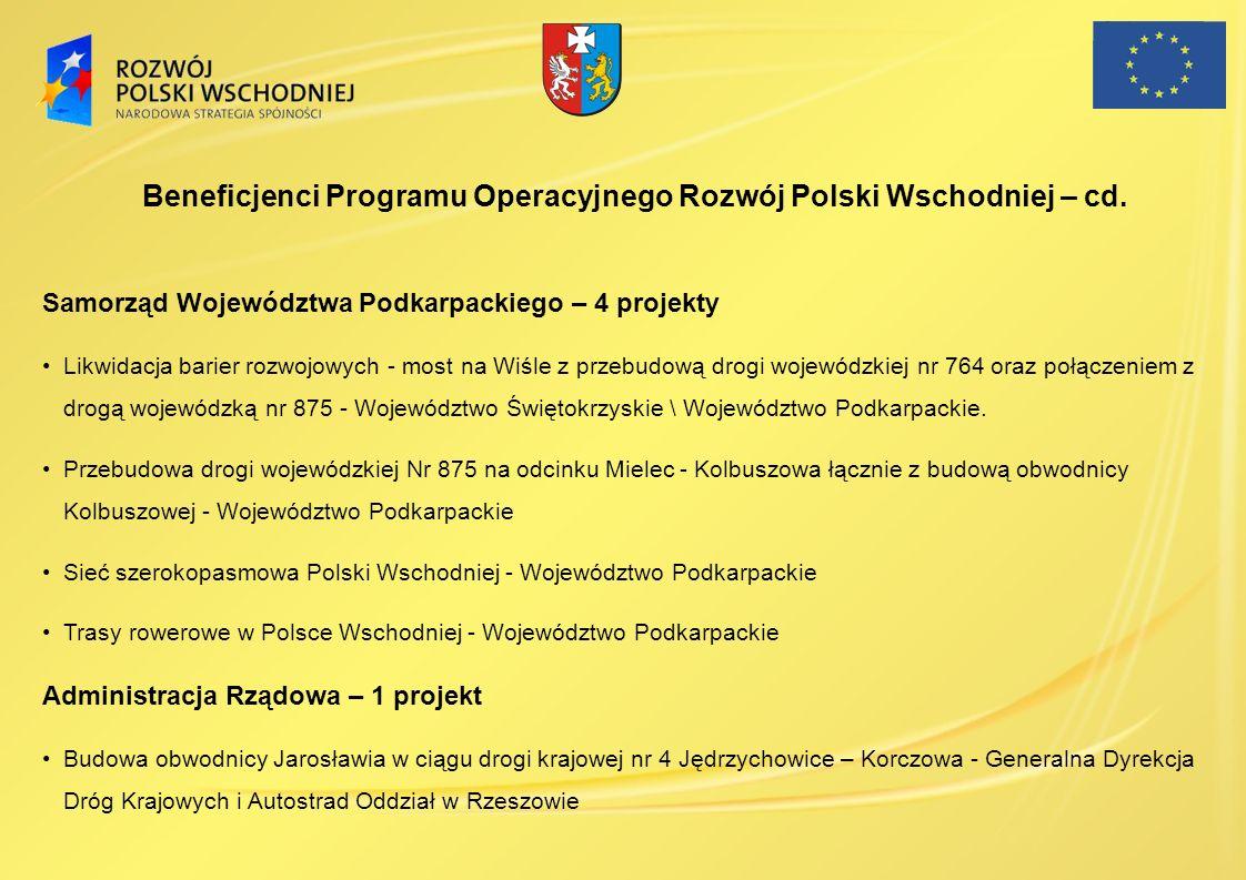 Samorząd Województwa Podkarpackiego – 4 projekty Likwidacja barier rozwojowych - most na Wiśle z przebudową drogi wojewódzkiej nr 764 oraz połączeniem