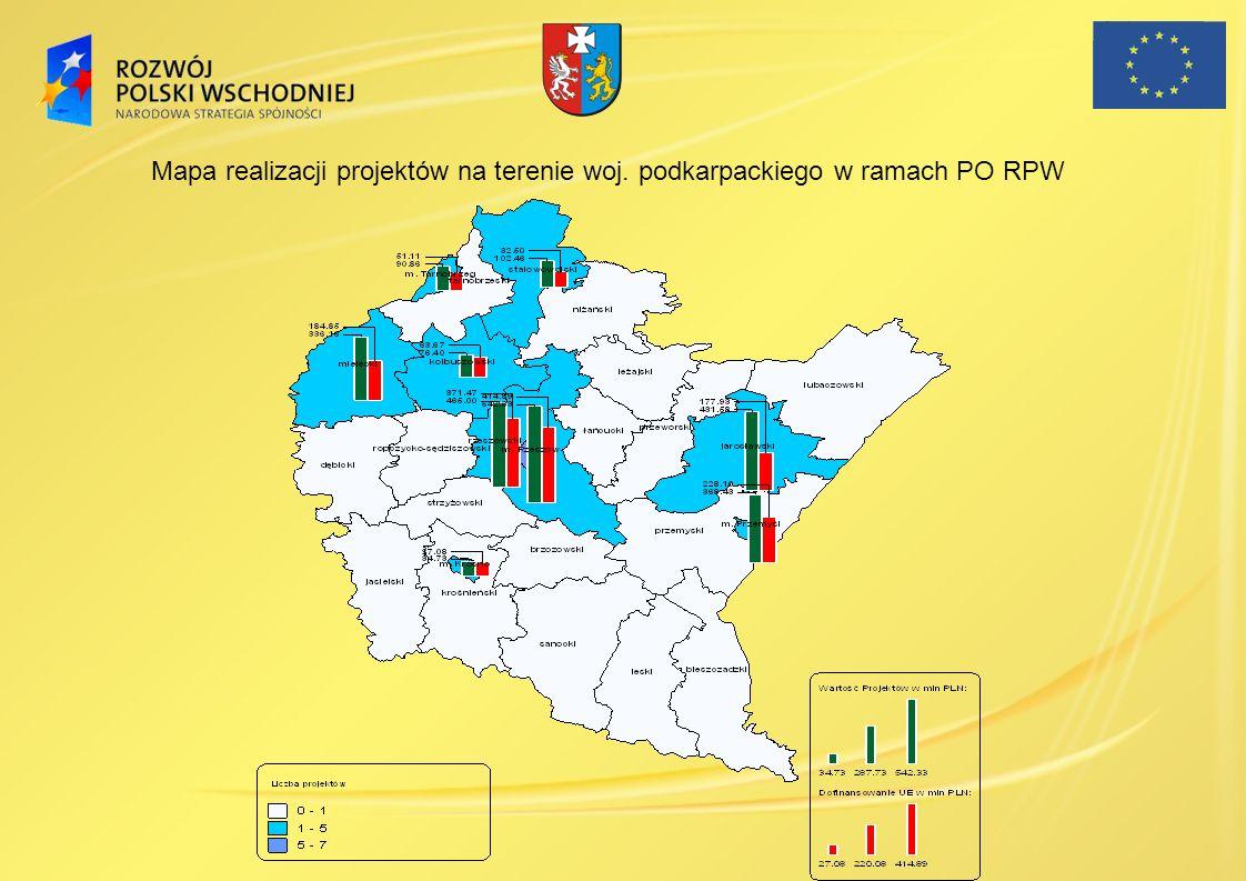 Mapa realizacji projektów na terenie woj. podkarpackiego w ramach PO RPW