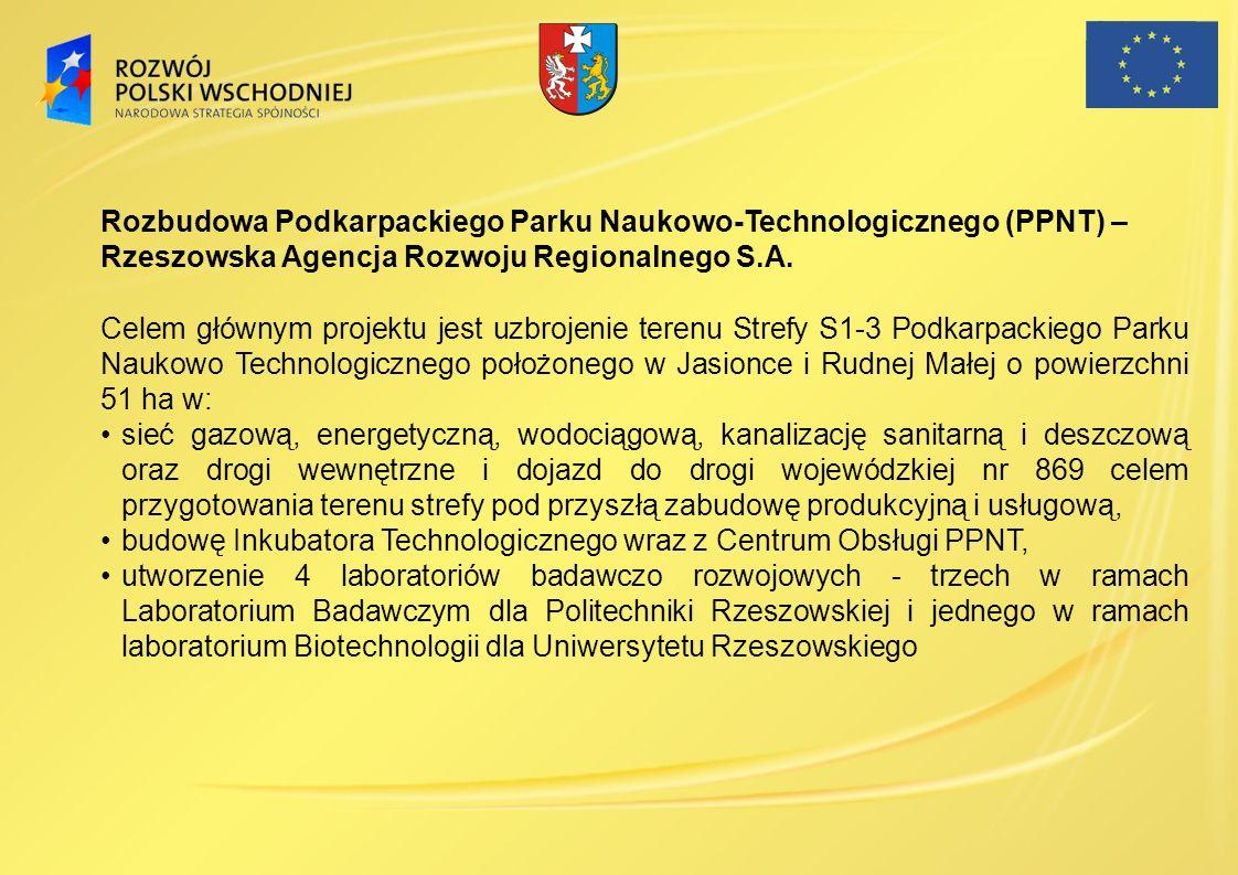 Rozbudowa Podkarpackiego Parku Naukowo-Technologicznego (PPNT) – Rzeszowska Agencja Rozwoju Regionalnego S.A. Celem głównym projektu jest uzbrojenie t
