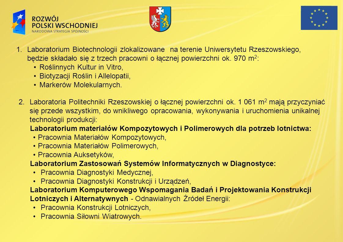 1.Laboratorium Biotechnologii zlokalizowane na terenie Uniwersytetu Rzeszowskiego, będzie składało się z trzech pracowni o łącznej powierzchni ok. 970