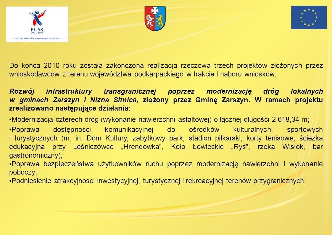 Do końca 2010 roku została zakończona realizacja rzeczowa trzech projektów złożonych przez wnioskodawców z terenu województwa podkarpackiego w trakcie