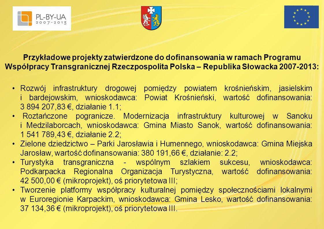 Rozwój infrastruktury drogowej pomiędzy powiatem krośnieńskim, jasielskim i bardejowskim, wnioskodawca: Powiat Krośnieński, wartość dofinansowania: 3