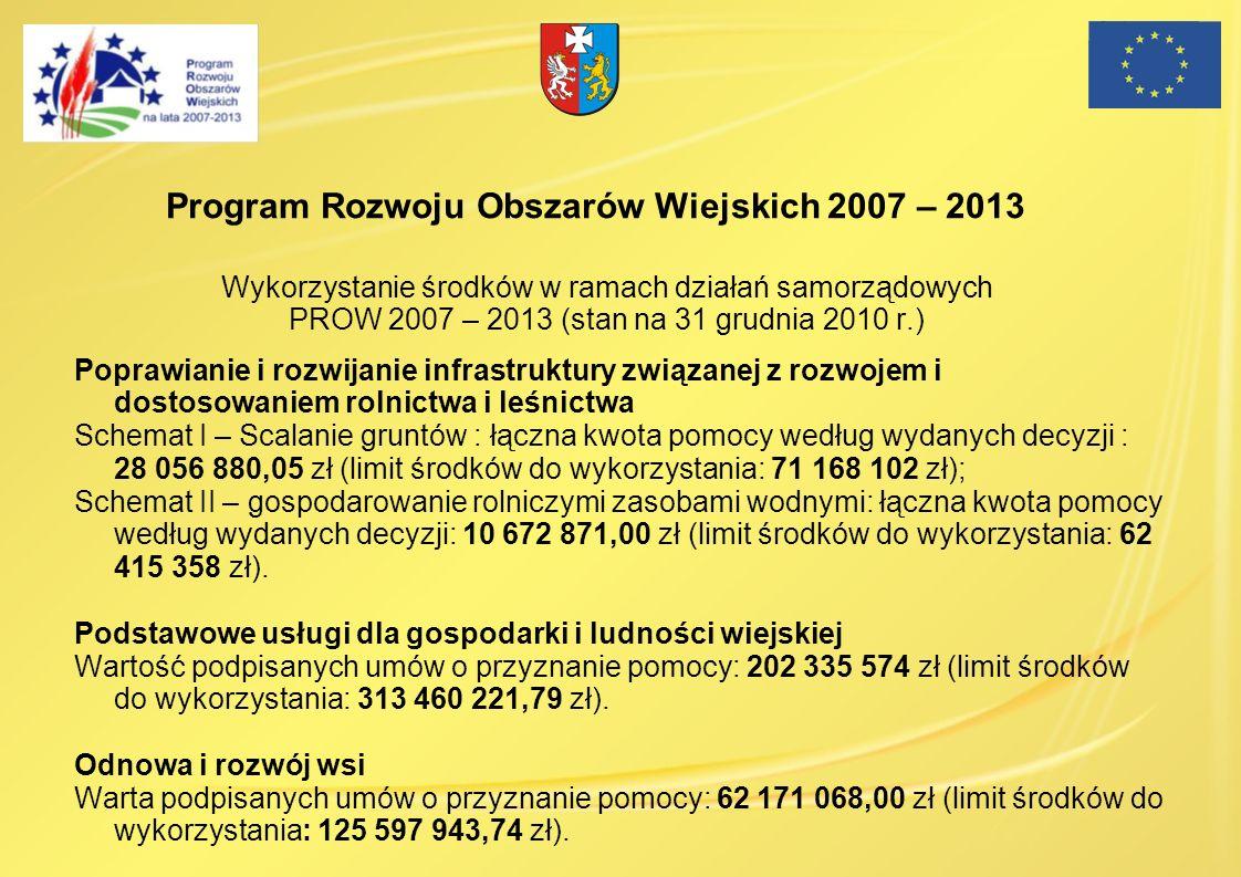 Wykorzystanie środków w ramach działań samorządowych PROW 2007 – 2013 (stan na 31 grudnia 2010 r.) Poprawianie i rozwijanie infrastruktury związanej z