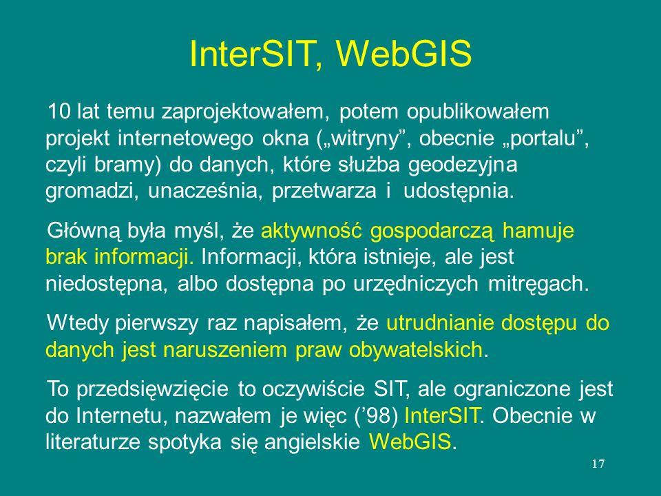 17 InterSIT, WebGIS 10 lat temu zaprojektowałem, potem opublikowałem projekt internetowego okna (witryny, obecnie portalu, czyli bramy) do danych, któ