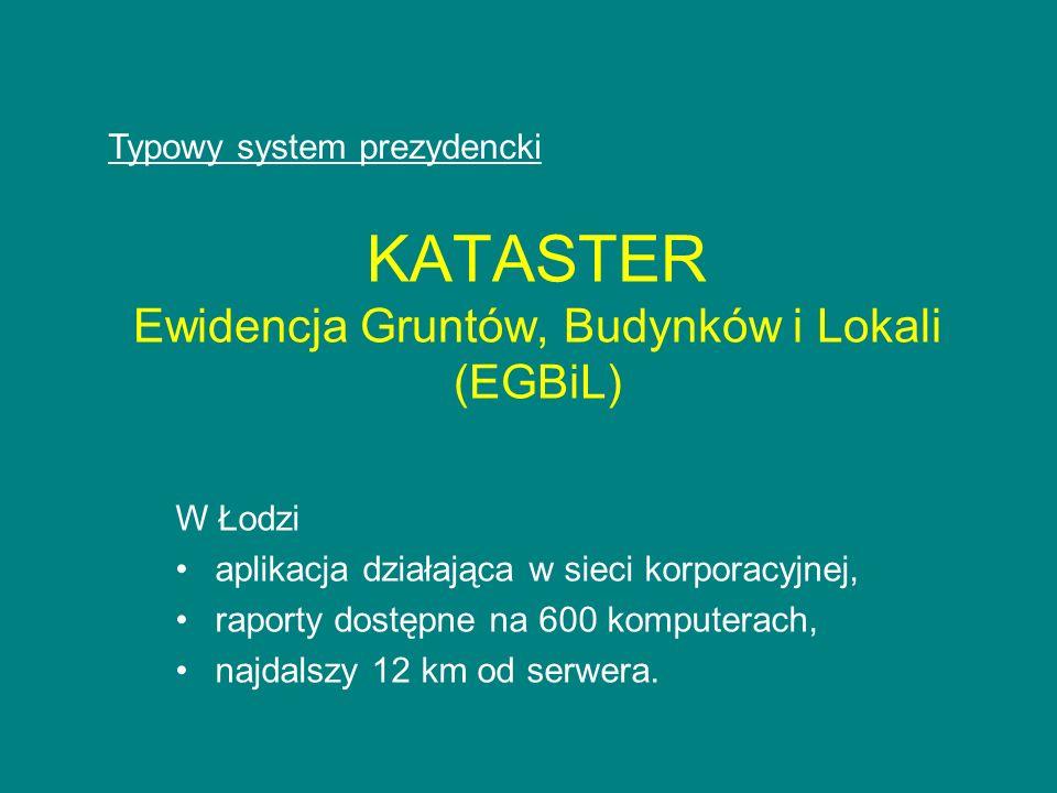 KATASTER Ewidencja Gruntów, Budynków i Lokali (EGBiL) W Łodzi aplikacja działająca w sieci korporacyjnej, raporty dostępne na 600 komputerach, najdals