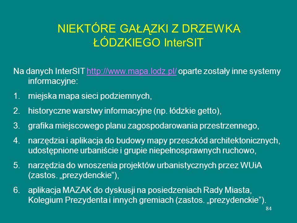 84 Na danych InterSIT http://www.mapa.lodz.pl/ oparte zostały inne systemy informacyjne:http://www.mapa.lodz.pl/ 1. 1.miejska mapa sieci podziemnych,