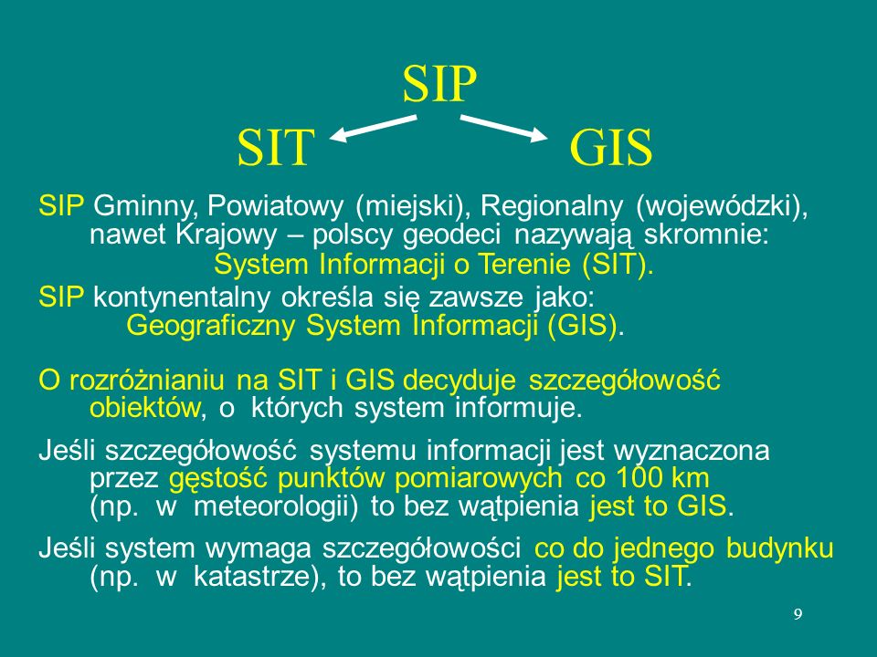 9 SIP SIT GIS SIP Gminny, Powiatowy (miejski), Regionalny (wojewódzki), nawet Krajowy – polscy geodeci nazywają skromnie: System Informacji o Terenie