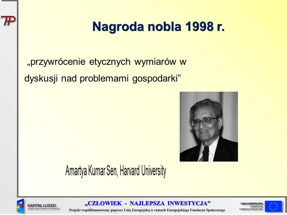 Nagroda nobla 1998 r. przywrócenie etycznych wymiarów w dyskusji nad problemami gospodarki