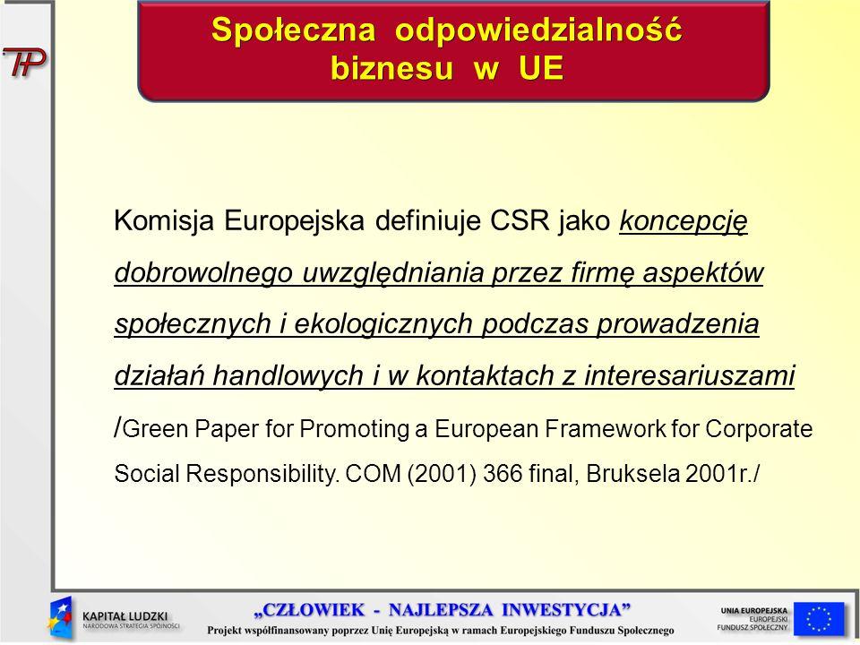Komisja Europejska definiuje CSR jako koncepcję dobrowolnego uwzględniania przez firmę aspektów społecznych i ekologicznych podczas prowadzenia działań handlowych i w kontaktach z interesariuszami / Green Paper for Promoting a European Framework for Corporate Social Responsibility.