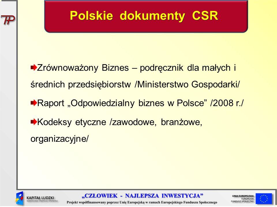 Zrównoważony Biznes – podręcznik dla małych i średnich przedsiębiorstw /Ministerstwo Gospodarki/ Raport Odpowiedzialny biznes w Polsce /2008 r./ Kodeksy etyczne /zawodowe, branżowe, organizacyjne/ Polskie dokumenty CSR