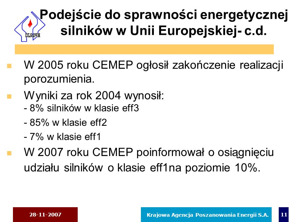 28-11-2007 Krajowa Agencja Poszanowania Energii S.A. 11 Podejście do sprawności energetycznej silników w Unii Europejskiej- c.d. n W 2005 roku CEMEP o